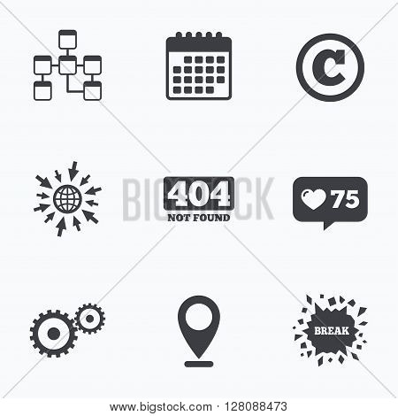 Calendar, like counter and go to web icons. Website database icon. Copyrights and gear signs. 404 page not found symbol. Under construction. Location pointer.
