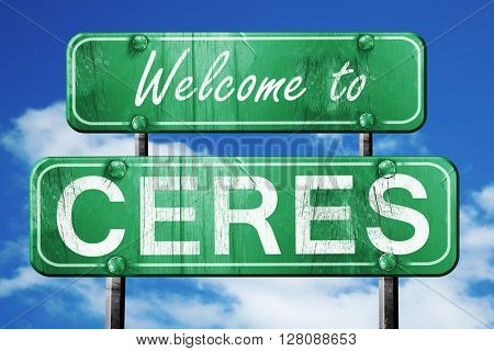 ceres vintage green road sign with blue sky background