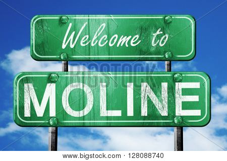moline vintage green road sign with blue sky background