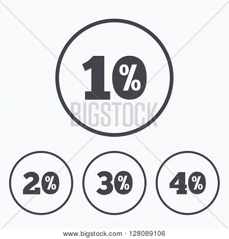 Sale discount icons. Special offer price signs. 10, 20, 30 and 40 percent off reduction symbols. Icons in circles.