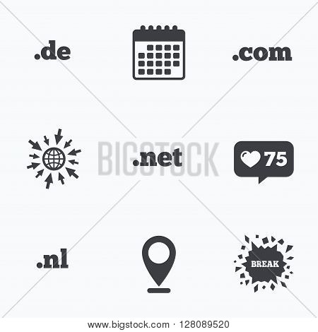 Calendar, like counter and go to web icons. Top-level internet domain icons. De, Com, Net and Nl symbols. Unique national DNS names. Location pointer.