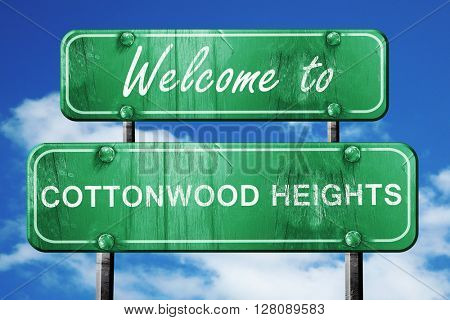 cottonwood heights vintage green road sign with blue sky backgro