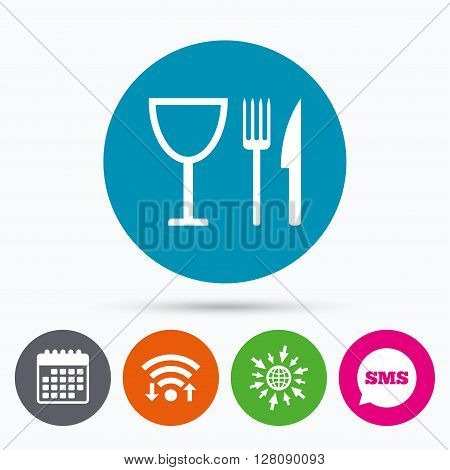 Wifi, Sms and calendar icons. Eat sign icon. Cutlery symbol. Knife, fork and wineglass. Go to web globe.