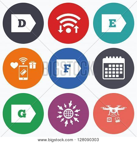 Wifi, mobile payments and drones icons. Energy efficiency class icons. Energy consumption sign symbols. Class D, E, F and G. Calendar symbol.