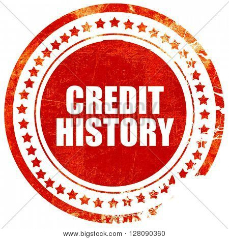 credit history, grunge red rubber stamp with rough lines and edg