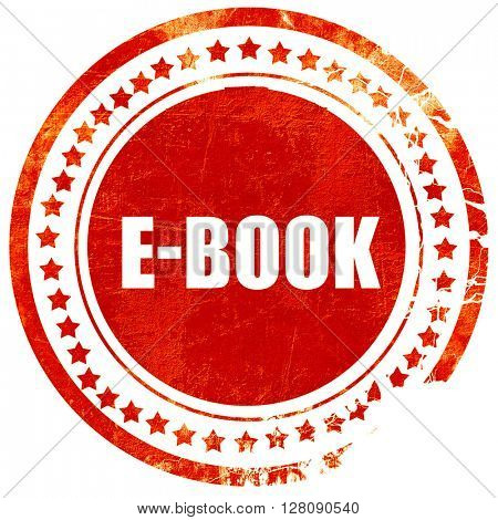 e-book, grunge red rubber stamp with rough lines and edges