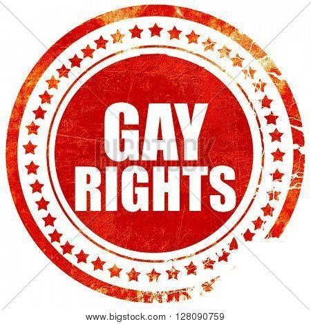 gay rights, grunge red rubber stamp with rough lines and edges