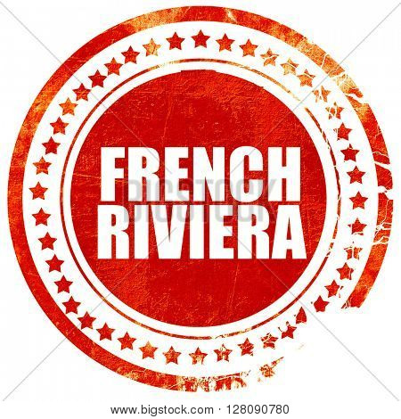 french riviera, grunge red rubber stamp with rough lines and edg