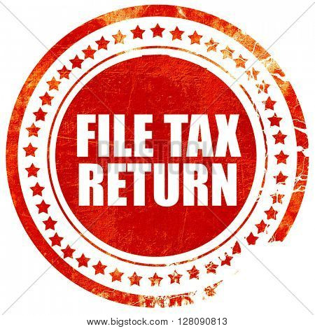 file tax return, grunge red rubber stamp with rough lines and ed