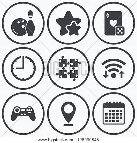 Clock, wifi and stars icons. Bowling and Casino icons. Video game joystick and playing card with puzzles pieces symbols. Entertainment signs. Calendar symbol.