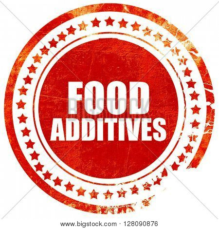 food additives, grunge red rubber stamp with rough lines and edg