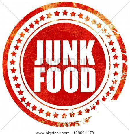 junk food, grunge red rubber stamp with rough lines and edges