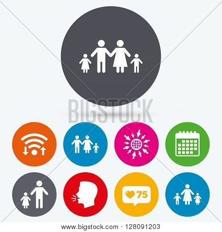 Wifi, like counter and calendar icons. Family with two children icon. Parents and kids symbols. One-parent family signs. Mother and father divorce. Human talk, go to web.