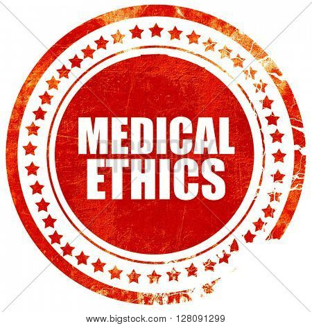 medical ethics, grunge red rubber stamp with rough lines and edg
