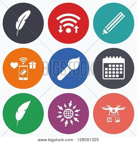 Wifi, mobile payments and drones icons. Feather retro pen icons. Paint brush and pencil symbols. Artist tools signs. Calendar symbol.