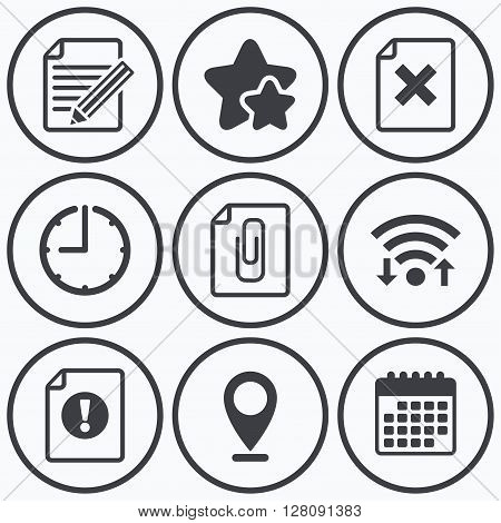 Clock, wifi and stars icons. File attention icons. Document delete and pencil edit symbols. Paper clip attach sign. Calendar symbol.