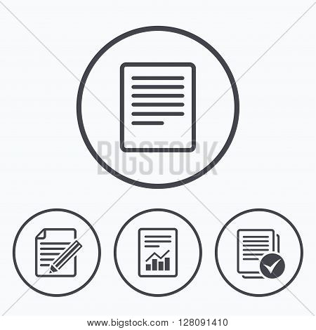 File document icons. Document with chart or graph symbol. Edit content with pencil sign. Select file with checkbox. Icons in circles.