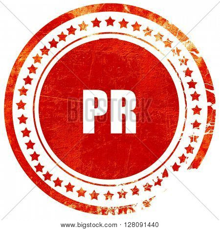 pr, grunge red rubber stamp with rough lines and edges