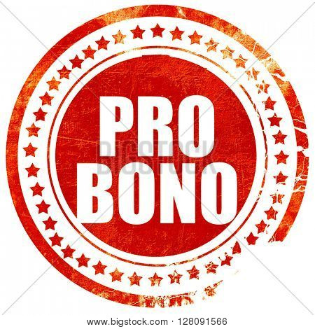 pro bono, grunge red rubber stamp with rough lines and edges