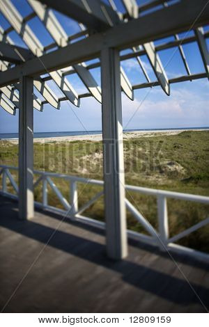 Beachfront deck with trelliswork on Bald Head Island, North Carolina..