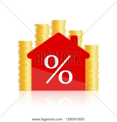 Red house icon with percent sign inside and golden coins behind