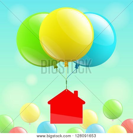 Red house icon is flying on colored balloons, and multicolored balloons at bottom