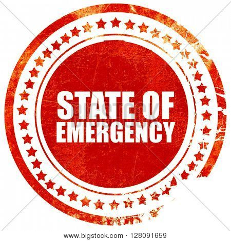 state of emergency, grunge red rubber stamp with rough lines and