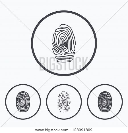 Fingerprint icons. Identification or authentication symbols. Biometric human dabs signs. Icons in circles.