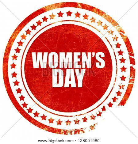 women's day, grunge red rubber stamp with rough lines and edges