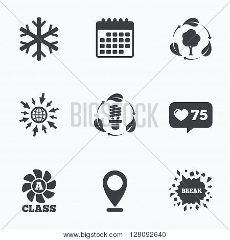 Calendar, like counter and go to web icons. Fresh air icon. Forest tree with leaves sign. Fluorescent energy lamp bulb symbol. A-class ventilation. Air conditioning symbol. Location pointer.