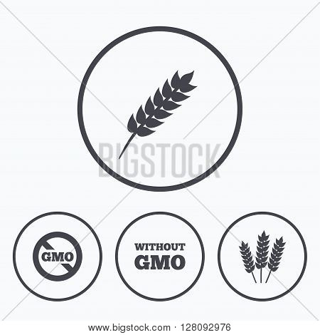 Agricultural icons. Gluten free or No gluten signs. Without Genetically modified food symbols. Icons in circles.