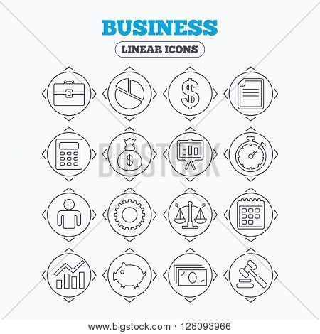 Linear icons with direction arrows. Business icons. Businessman, briefcase and documents symbols. Presentation pie chart, money bag and justice scales thin outline signs. Dollar USD currency. Auction hammer. Circle buttons.
