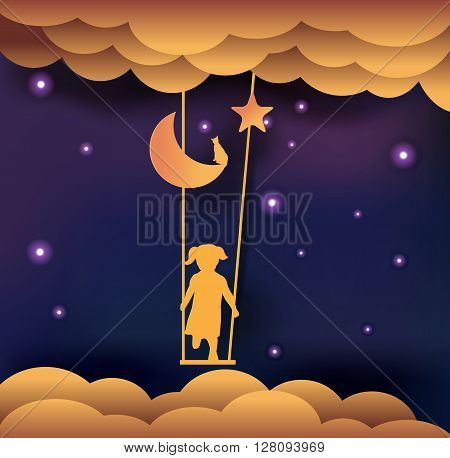 good night card child on swing in sky paper cut style vector illustration