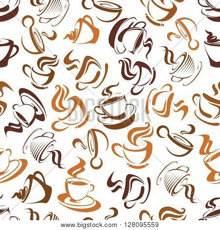 Seamless coffee background with brown pattern of elegant cups of tasty cappuccino with creamy foam and decorative swirls of steam. Use as breakfast backdrop, coffee shop and cafe design