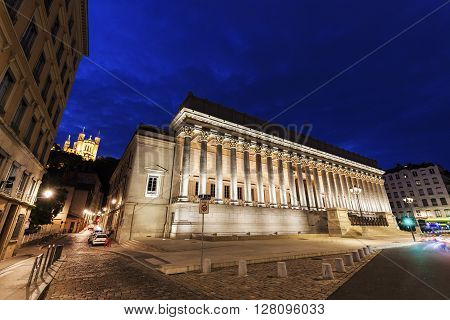 Courthouse in Lyon at night. Lyon Rhone-Alpes France.