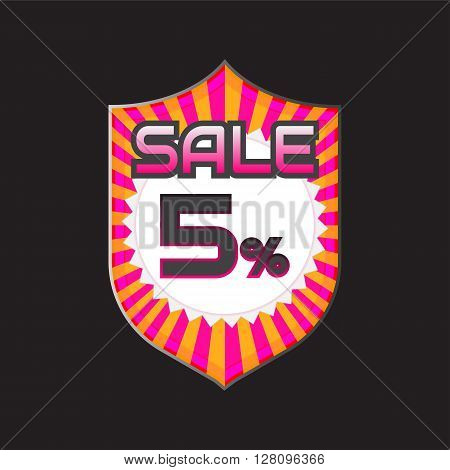 Sale discount labels. Special offer price signs. 5 percent off reduction symbol.