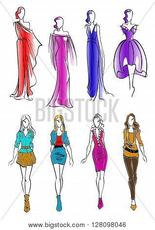 Elegant silhouettes of fashion models sketch icons with young women wearing colorful cocktail and evening dresses and modern casual outfits. Great for fashion and art theme design