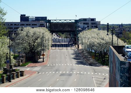 JOLIET, ILLINOIS / UNITED STATES - APRIL 26, 2015: The Jefferson Street Drawbridge crosses the Des Plaines River in downtown Joliet.