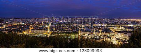 Lyon panorama at night. Lyon Rhone-Alpes France.