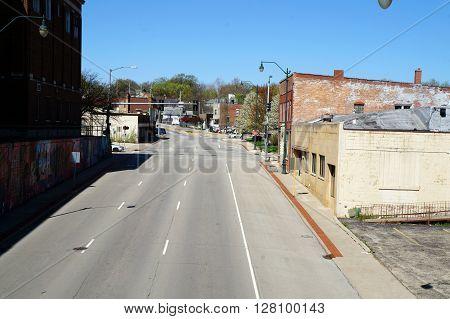 JOLIET, ILLINOIS / UNITED STATES - APRIL 26, 2015: A view of West Jefferson Street near downtown Joliet.