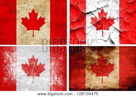 Canada flag collection. 4 different flags on white background