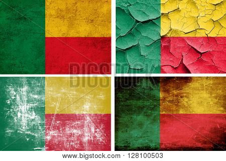 Benin flag collection. 4 different flags on white background