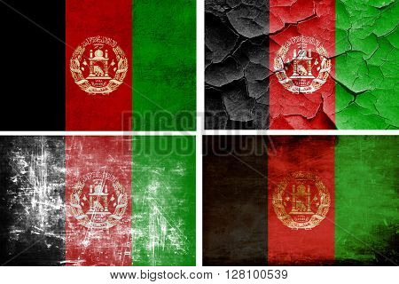 Afghanistan flag collection. 4 different flags on white backgrou