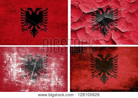 Albania flag collection. 4 different flags on white background