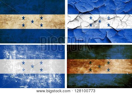 Honduras flag collection. 4 different flags on white background