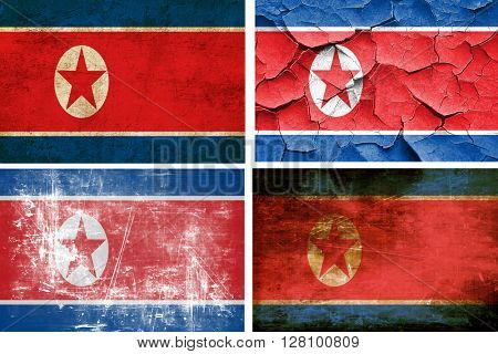 North Korea flag collection. 4 different flags on white backgrou