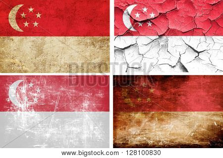 Singapore flag collection. 4 different flags on white background