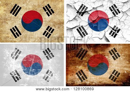 South korea flag collection. 4 different flags on white backgrou