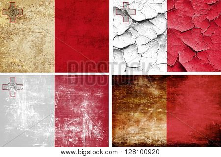Malta flag collection. 4 different flags on white background