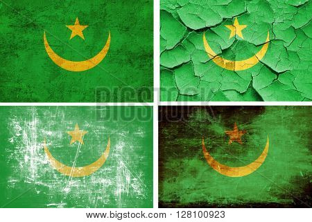 Mauritania flag collection. 4 different flags on white backgroun